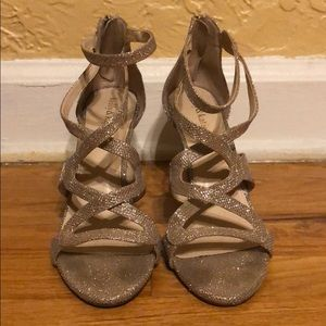 Strappy Kelly & Katie gold/bronze glittery heels
